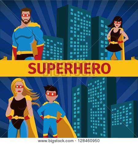 Superhero family flat horizontal banner set with couples father and daughter and mother and little sun wearing masks and cloaks and slogan in center vector illustration