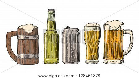 Beer glass mug can bottle hop. Vector vintage engraved color illustration isolated on white background