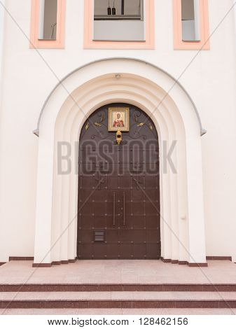Varvarovka, Russia - March 15, 2016: The Main Entrance To The Church In The Village Of Great Martyr