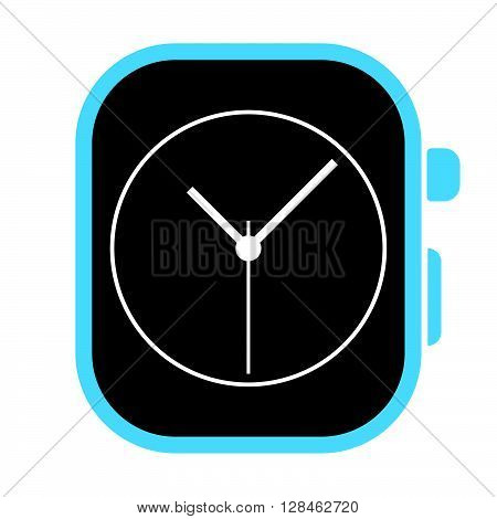 Blue Digital Watch With Clock Face On Its Screen. Vector With White Background.