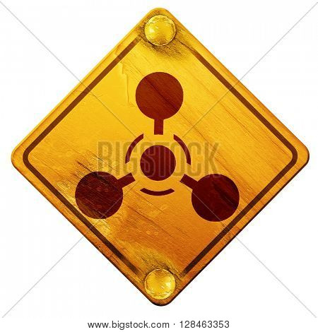 Chemical weapon sign, 3D rendering, isolated grunge yellow road