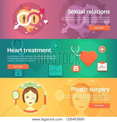 Medical and health banners set. Sexology. Heart treatment. Cardiology. Anaplasty. Plastic surgery. Modern flat vector illustrations. Horizontal banners.