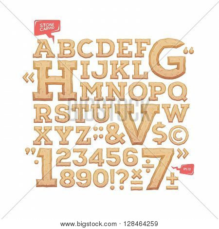 Sculpted alphabet. Stone carved letters, numbers and typeface symbols. Vector illustration.