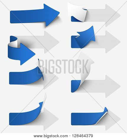 Set of blue paper arrow stickers. Vector illustration