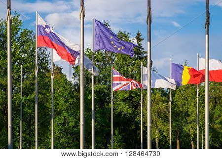 Flags of the United Kingdom and the European Union between flags of other EU members. British people voting about EU membership on referendum. Brexit - UK withdrawal from the European Union