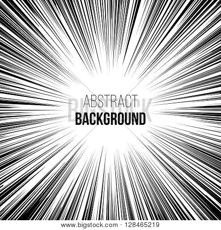Abstract comic book black and white explosion radial speed lines background. Vector illustration