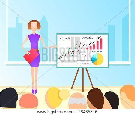 Vector Flat Illustration of business woman making a presentation with the use of a white board showing pie-charts and graphs. Standup meeting with project team and manager.