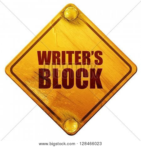 writer's block, 3D rendering, isolated grunge yellow road sign