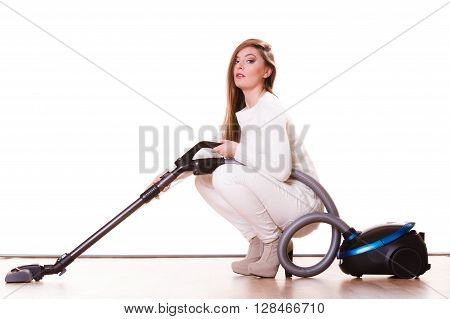 Funny Girl With Vacuum Cleaner. Housework