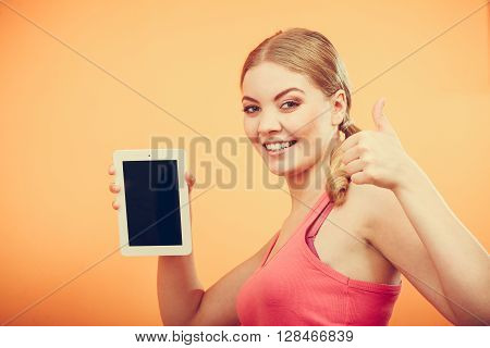 Sporty Girl With Pc Tablet. Blank Screen Copyspace