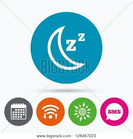 Wifi, Sms and calendar icons. Sleep sign icon. Moon with zzz button. Standby. Go to web globe.