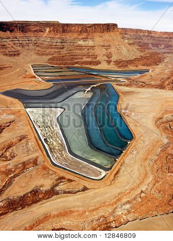 Aerial landscape of tailing ponds for mineral waste in rural Utah, United States.