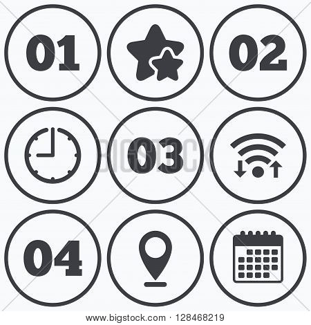 Clock, wifi and stars icons. Step one, two, three and four icons. Sequence of options symbols. Loading process signs. Calendar symbol.