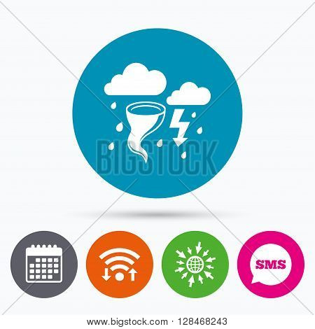 Wifi, Sms and calendar icons. Storm bad weather sign icon. Clouds with thunderstorm. Gale hurricane symbol. Destruction and disaster from wind. Insurance symbol. Go to web globe.
