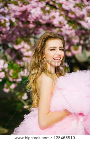 Happy Girl In Pink Blossom