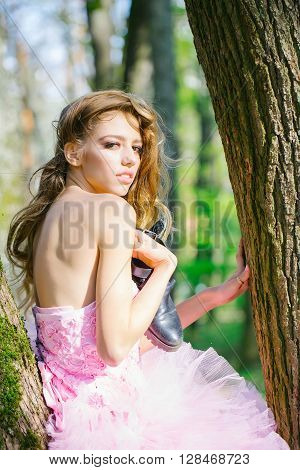 Stylish Girl Near Tree
