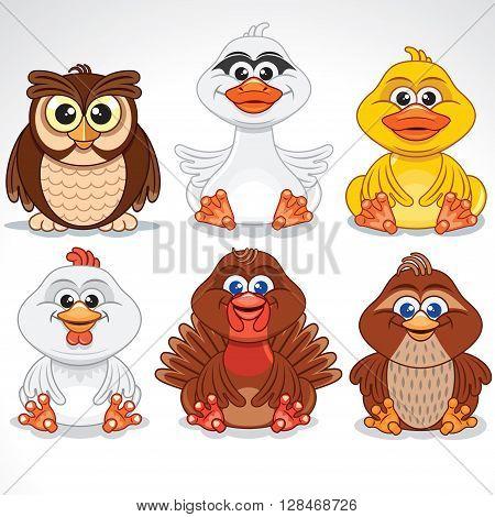 Set of Various Cartoon Birds. Vector Clip Art