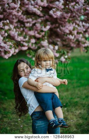 Happy Children In Orchard