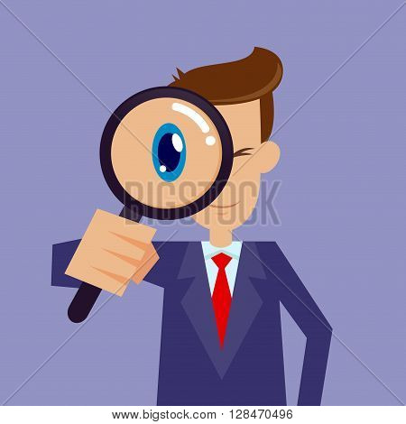 Vector stock of businessman looking through magnifying glass focusing