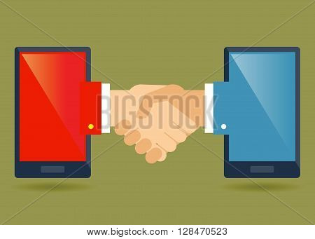 Vector stock of two smartphone connected with a hand shake