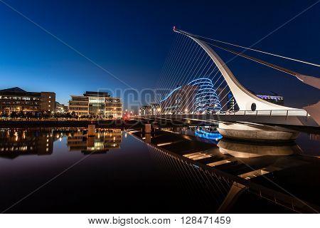 Dublin Ireland on June 06 2015  Modern Ireland, Dublin City Centre at night