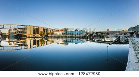 Goverment Buildings With Reflection In Spree, Berlin
