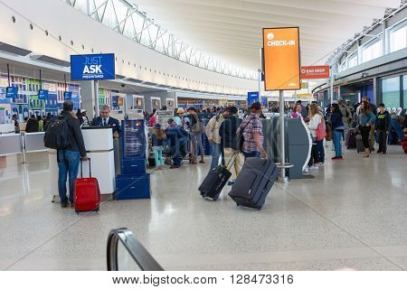 NEW YORK - MARCH 22, 2016: inside of JFK airport. John F. Kennedy International Airport is a major international airport located in Queens, New York City, United States.