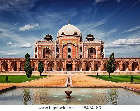 Vintage retro effect filtered hipster style image of famous tourist indian landmark Humayun's Tomb. Delhi, India. UNESCO World Heritage Site. Frontal View