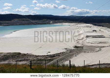 View of the tailings pond at the Copper mine