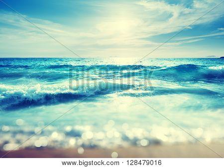beach in sunset time, tilt shift effect