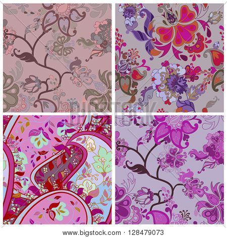 Set of Violet Decorative creative floral boho seamless pattern with flowers. Vector illustration.