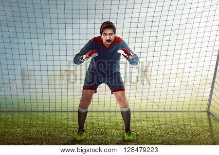 Goalkeeper In Front Of Goalpost