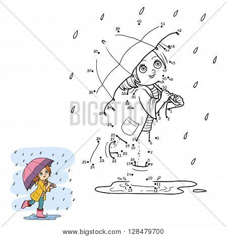 Numbers Game For Children. Girl Running With An Umbrella In The Rain