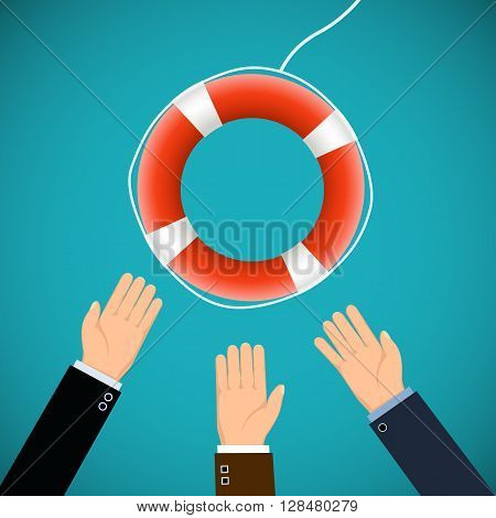 Human hands and a lifebuoy. Saving Lives. Stock vector illustration.