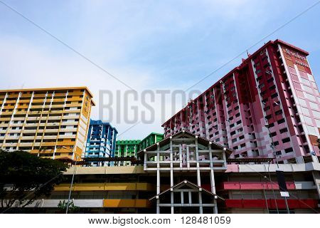 Singapore, Singapore - May 1, 2016: Apartment landmark of Rochor Centre scheduled to be demolished to make way for new construction projects in 2016.