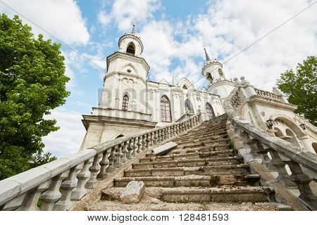 Facade and stone stairs of the neo-Gothic Church of the Vladimir icon of the Mother of God, famous monument of Russian Gothic revival of the eighteenth century.