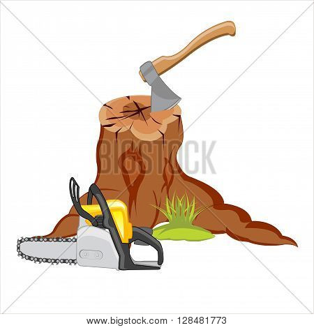 Sawn tree and axe with saw on white background is insulated