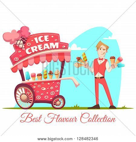 Ice cream vendor with cart. Best flavour collection. Vector illustration.
