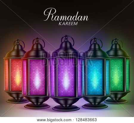 Colorful Set of Ramadan Lanterns or Fanous with Lights and Ramadan Kareem Greetings in a Dark Background. 3D Realistic Vector Illustration