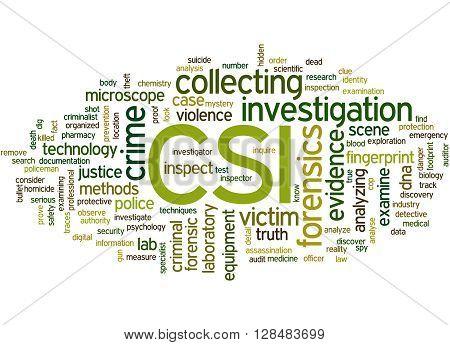 Csi, Crime Scene Investigation Word Cloud Concept 7