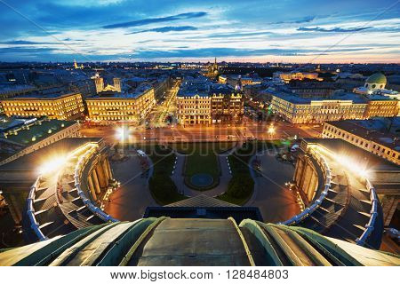 View at night Nevsky Prospekt in St.Petersburg from cupola of Kazan Cathedral.