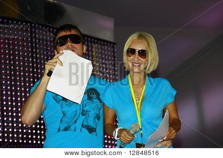 Russian pop star, singer Sergey Lazarev and Russian TV presenter and actor Lera Kudryavtseva