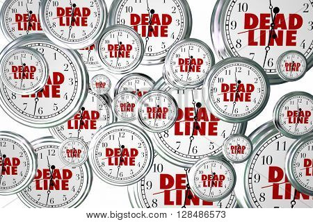 Deadline Due Dates Clocks Flying Urgent Words 3d Illustration