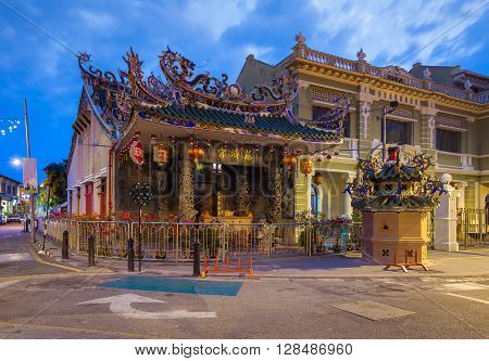 GEORGE TOWN, PENANG - MARCH 24: Dusk view of the Choo Chay Keong Temple adjoined to Yap Kongsi clan house, Armenian Street, George Town, Penang, Malaysia on March 24, 2016.