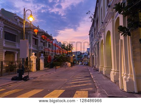 Dusk view of on Armenian Street and Yap Kongsi clan house George Town Penang Malaysia on March 24 2016.