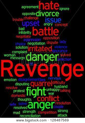 Revenge word cloud concept on black background.