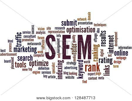 Sem, Search Engine Marketing Optimization Word Cloud Concept 5