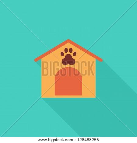 Kennel icon. Flat vector related icon with long shadow for web and mobile applications. It can be used as - logo, pictogram, icon, infographic element. Vector Illustration.