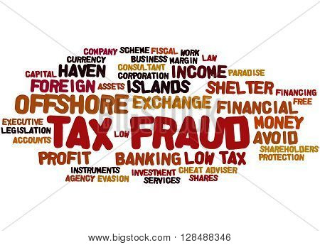 Tax Fraud, Word Cloud Concept 3