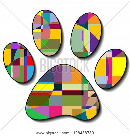Illustration of colorful paw prints on a white background.